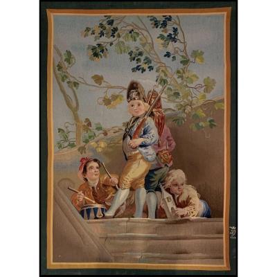 """""""Le Jeu de la Guerre"""", Tapisserie d'après le carton de Goya - Manufacture de Madrid, c. 1970"""