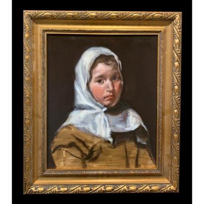 Contemporary Spanish School - Portrait Of Young Girl
