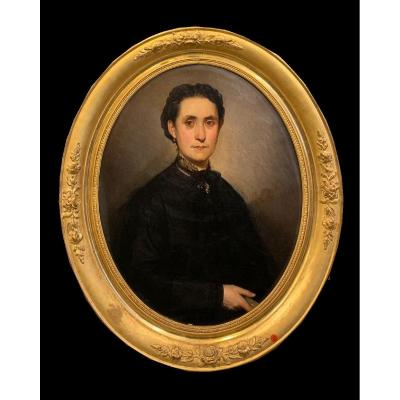 French School (late 19th Century) - Magnificent Oval Portrait