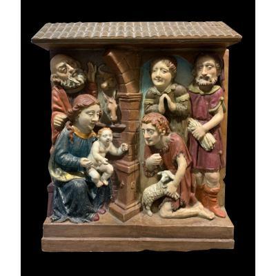 Êcole Historiciste - Belle Crèche De Noel En Relief Dans Le Style Rhénan Du XVIème