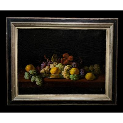 Spanish School (late 19th Century) - Still Life With Lemons And Grapes