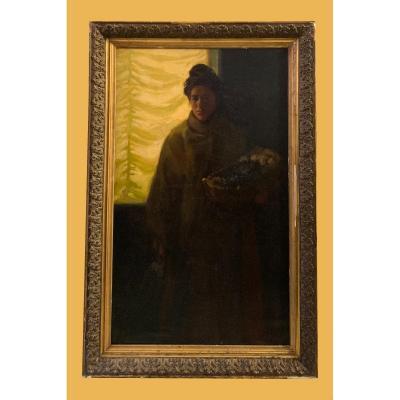 Êcole Espagnole (fin XIXème) - Grande Scène d'Interieur En Clair-obscur