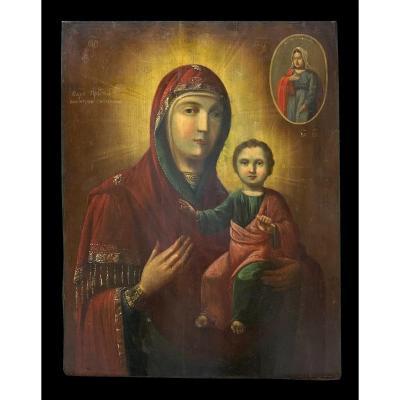 Êcole Russe (xviii-xix) - Impressionante Icône Notre Dame De Smolensko