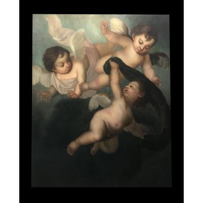 Êcole Italienne XVIIIème - Gloire Des Anges Monumentale
