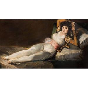 Spanish School (xx) - Monumental Copy Of La Maja Vestida De Goya