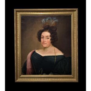 Êcole Espagnole (début XIXème) - Très Intéressant Portrait De Dame