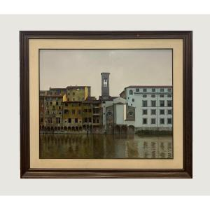 Juan Adriaensens (1936-2019) - Étonnante Vue Hyperréaliste du Oltrarno, à Florence
