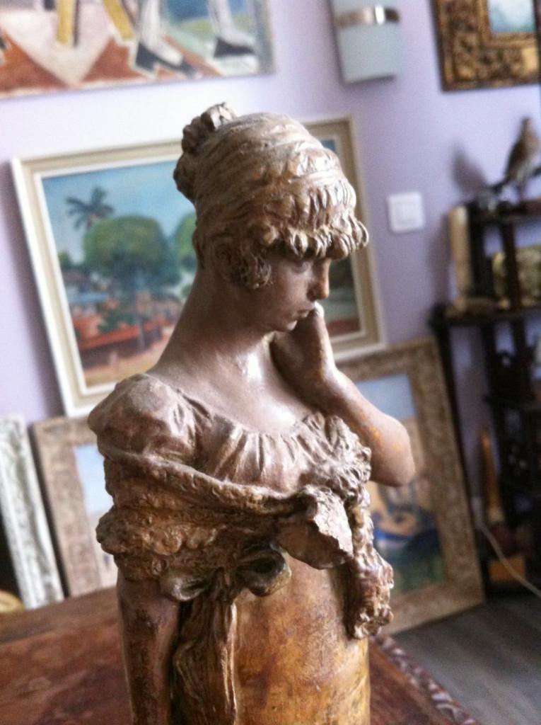 Sculpture Terracotta Elegant Belle Luigi Preatoni 1880-photo-3