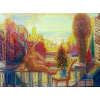 Nice Woman On The Terrace Faustino-lafetat Post Cubist Large Table 73x54