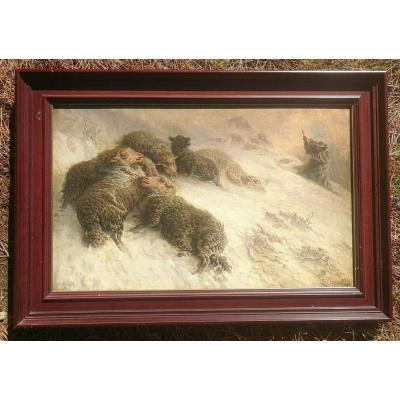 Auguste Friederich Schenck Sheep In The Storm Large Painting