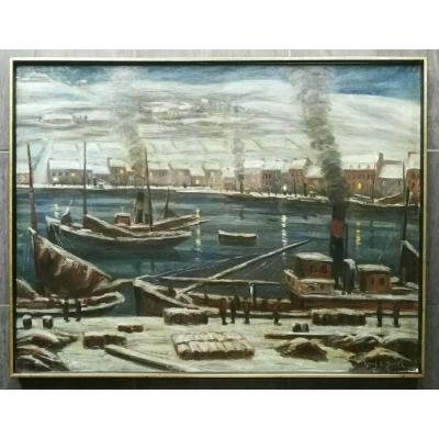 Fécamp Sous La Neige Burel Immense Tableau De 1929 Art Déco