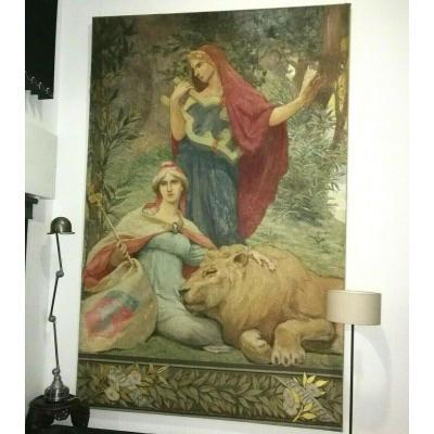 Muses de la musique  Lyon Edmond TAPISSIER allégorie 3m50 x 2m