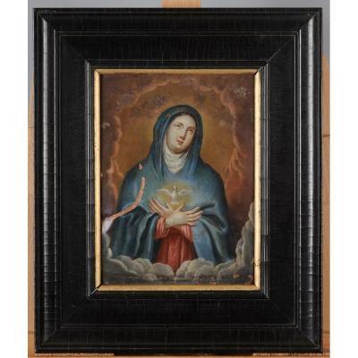 Vierge au Saint Esprit huile sur Cuivre 18 ème  Louis XVI