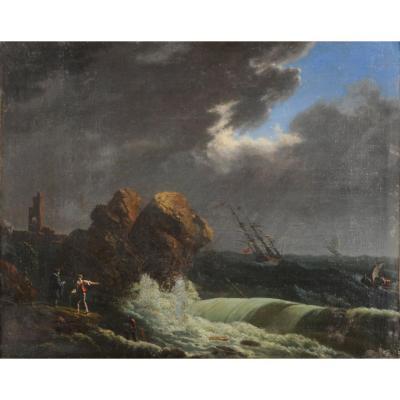 Marine d'époque Louis XV Suiveur De Joseph Vernet