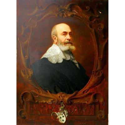 Vicomte Emmanuel Henri De Grouchy Large Table In Trompe l'Oeil Monogram Am