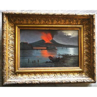 Naples At Night Vesuvius Erupting 19th Louis Phillipe Italy
