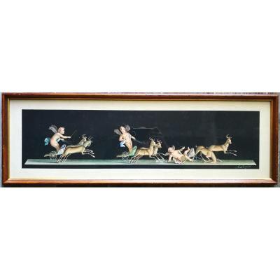 Bisogno  grande composition Puttis fresque Pompeï néo classique