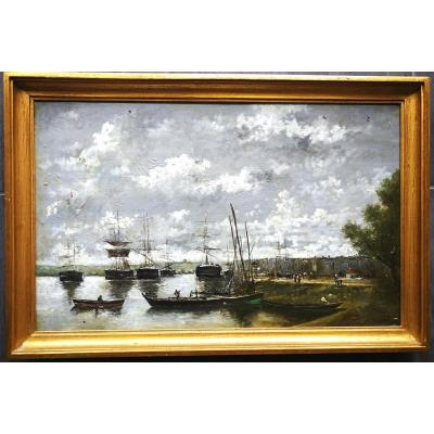 Charles François Pecrus (1826-1907) Animation In A Normand Marine Port 19th Pupil Of Boudin