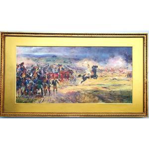 Bataille Iéna Napoléon Murat Grand Tableau Préparatoire Henri CHARTIER (1859-1924)