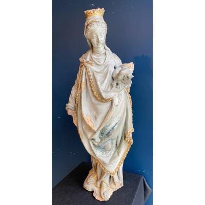 Vierge à l'Enfant En Terre Cuite Polychrome Du XVIe