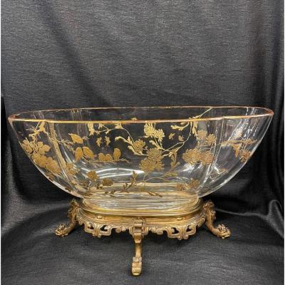 Nineteenth Gold Enameled Crystal Cup - Baccarat Gilt Bronze Frame