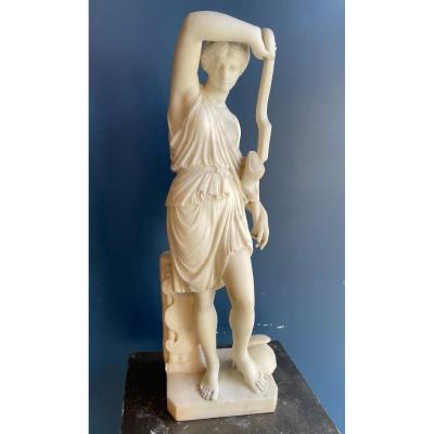 Sculpture - Antique Draped Woman Holding A Bow - Marble