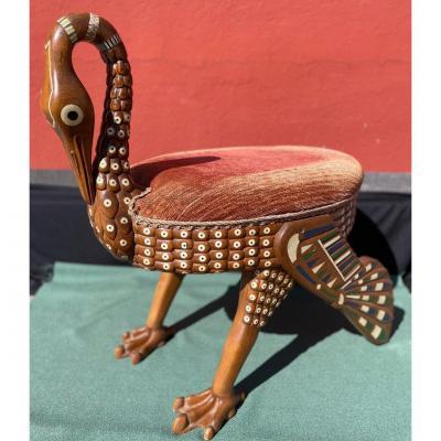 Rare Egyptian Ibis Stool, Early Twentieth Century