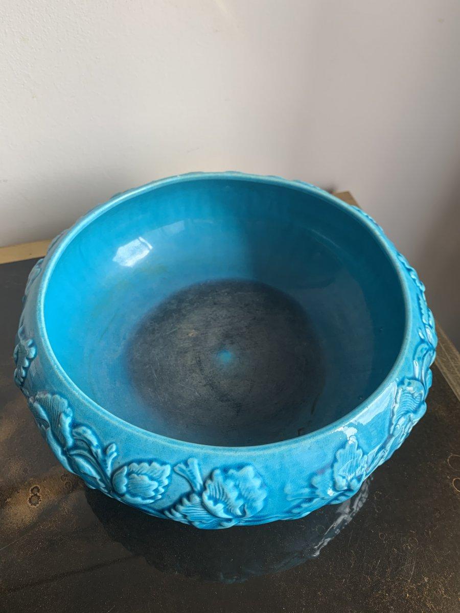 Rare Coupe bleue turquoise en Gien-photo-3