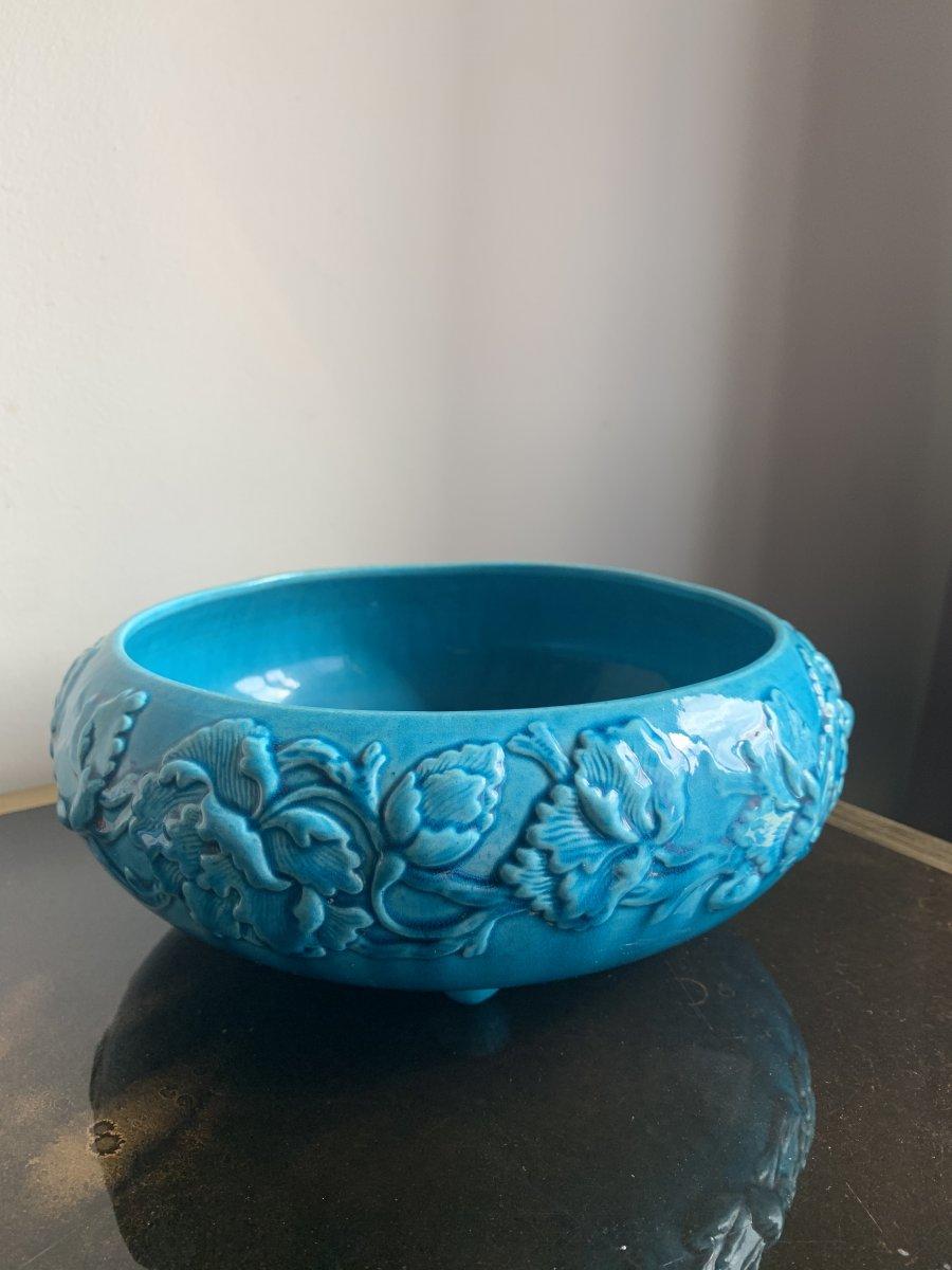 Rare Coupe bleue turquoise en Gien-photo-2