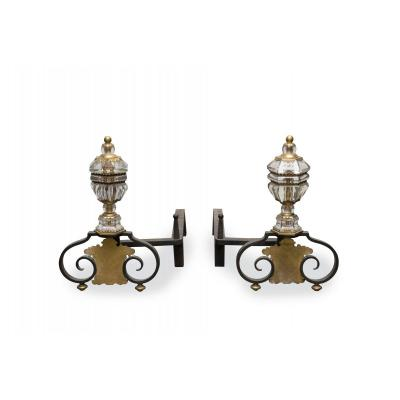 Pair Of Bronze And Glass Andirons / Maison Baguès
