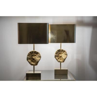 Pair Of Bronze Lamps Maison Charles
