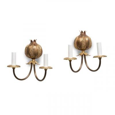 "Pair Of ""grenades"" Bronze Sconces Signed Maison Charles."