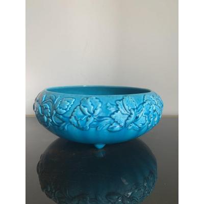 Rare Coupe bleue turquoise en Gien