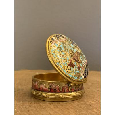 Pill Box Cloisonne Email And Gilt Bronze