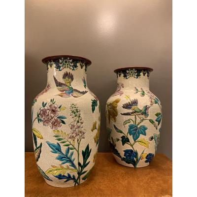 Exceptional Pair Of Longwy XIXth Vases.