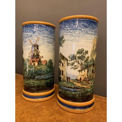 Paire De Vases En Gien Par A. Marois.