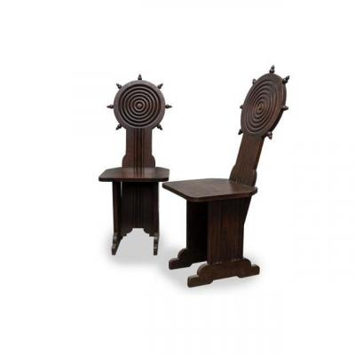 Pair Of Chairs By Charles Dudouyt / 1930.