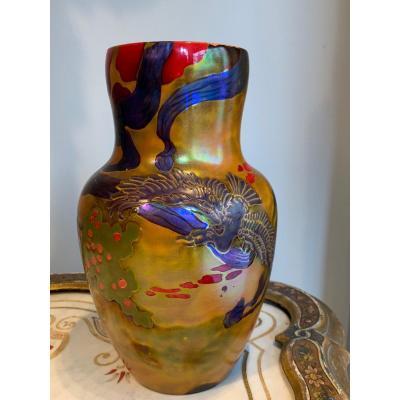 Exceptionnel Vase Art Nouveau Par Zsolnay.