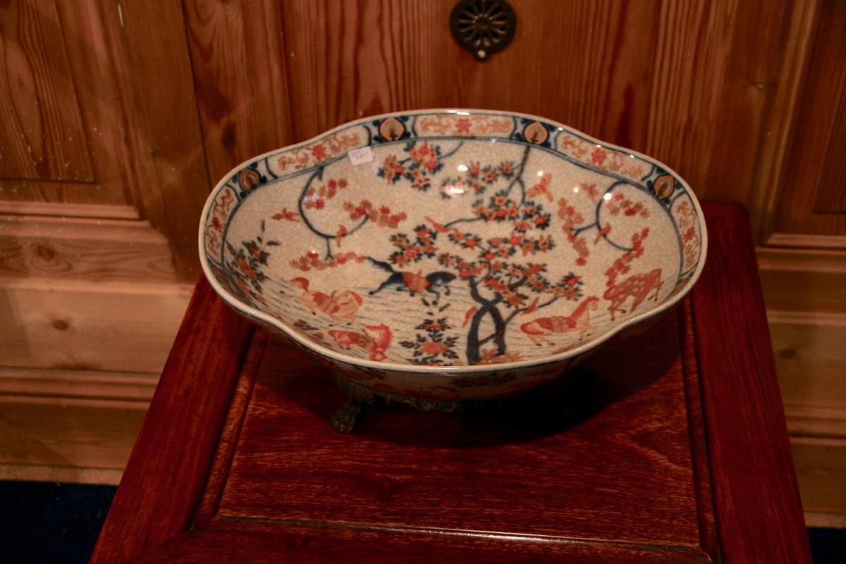 Chinese Ceramic Dish With Golden Bronze Mount, Twentieth Century