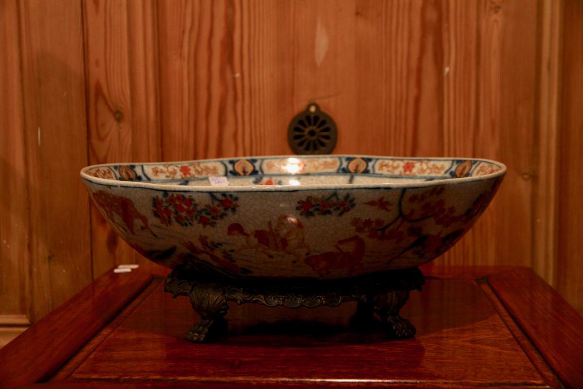 Plat Chinois En Céramique à Monture De Bronze Doré, XXe Siècle-photo-2