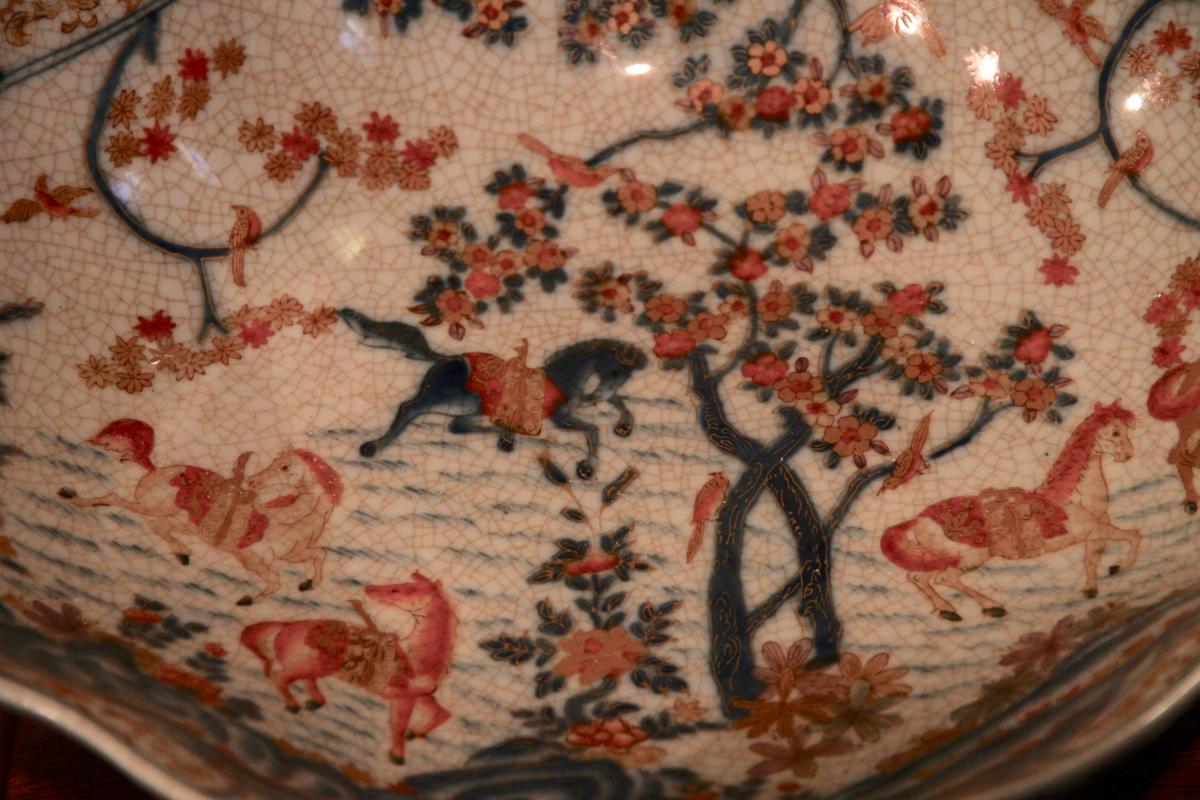 Plat Chinois En Céramique à Monture De Bronze Doré, XXe Siècle-photo-3