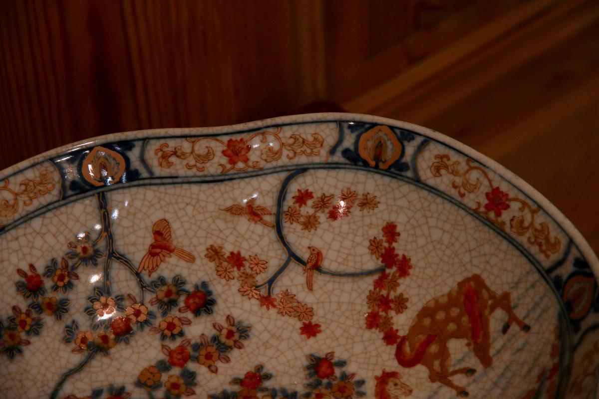 Plat Chinois En Céramique à Monture De Bronze Doré, XXe Siècle-photo-4