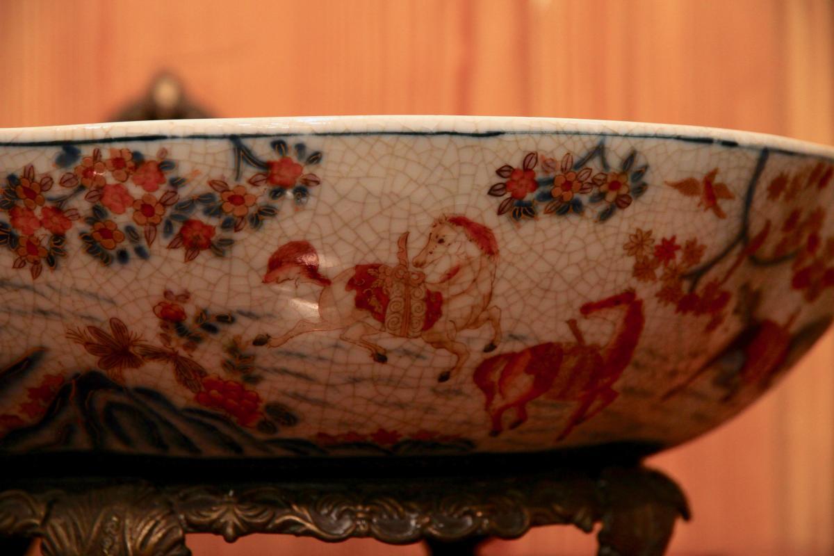 Plat Chinois En Céramique à Monture De Bronze Doré, XXe Siècle-photo-5