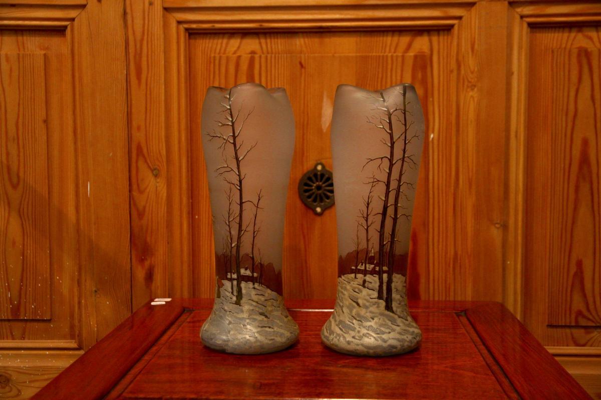 Paire De Vases En Pâte De Verre, Début XXe Siècle