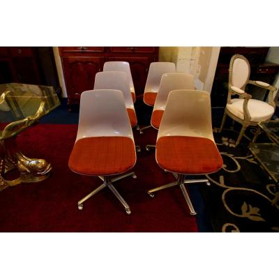 """Suite Of Six Chairs """"shell"""", 1970s"""