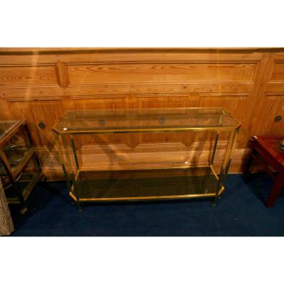 Console In Glass And Brass, 20th Century