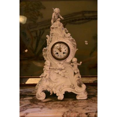 Fireplace Clock In Biscuit, 1900