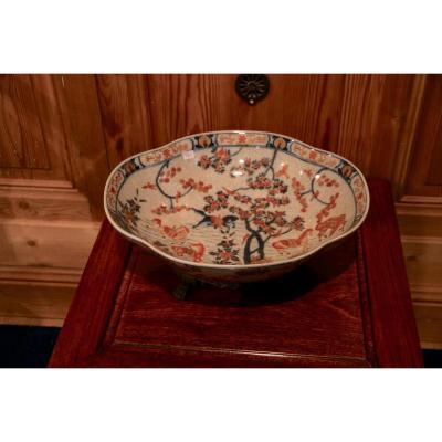 Chinese Ceramic Dish With Golden Bronze Mount, Twentieth Century