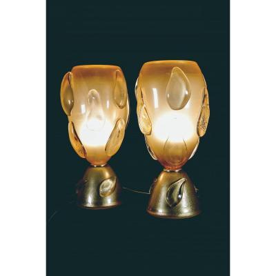Pair Of Murano Glass Lamps, 20th Century