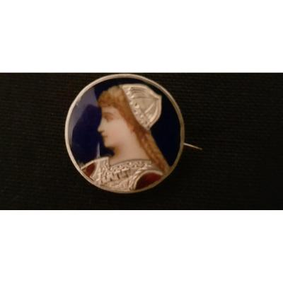 Enameled Silver Brooch